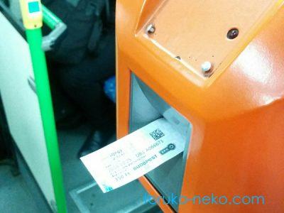ハンガリーでのバスに乗るときに、バスの乗車券、切符に消印をスタンプするときの機械の写真。切符を挿入しているところの画像