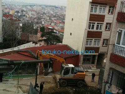 トルコ猫歩き イスタンブールで建設に携わる建設機器の写真 機械 パワーショベル バックホウ バックホーに関する画像